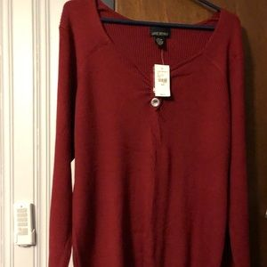 Lane Bryant V-neck ribbed button accent sweater